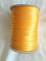 Лямівка атласна 15 мм, косая бейка, жовтий гарячий №017; 129 м.