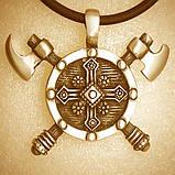 Кулон серебряный Две Секиры и Щит Викинга ПС-30 Б, фото 7