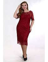 Вечернее платье красного цвета с гипюром. Модель Р0859