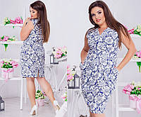 Жіноче батальне плаття з квітами на літо.Розміри 48-54