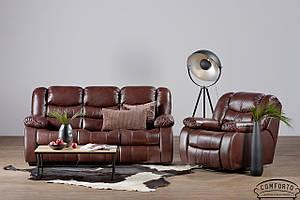 Мягкий кожаный комплект мебели с реклайнером в коже - Манхеттен (3+1)