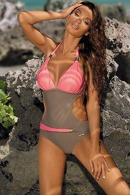 Сплошной женский купальник Нежно розовый-серый