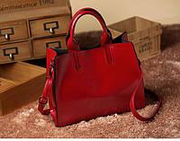 Женская красная сумка с 2 ручками