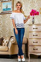 Блузка из батиста, с открытыми плечами,с вышивкой, белая, размеры 42-48