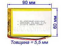 Аккумулятор (4000 мАч) для планшета Q88, A13, Nomi 4000mAh 3.7v 6*60*90 мм универсальная батарея 606090 3,7 в