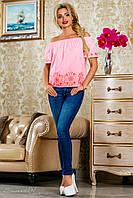 Блузка из батиста, с открытыми плечами,с вышивкой, розовая, размеры 42-48