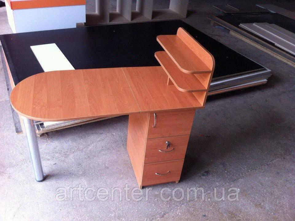 Маникюрный стол  с полочками со складной столешницей и хромированной ножкой