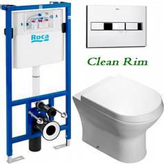 Инсталляционная система Roca PRO Nexo Clean Rim + унитаз+кнопка+ крышка slow-closing A34H64L000+A890090020+A89
