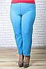 Брюки летние большого размера 7/8 голубой, женские летние брюки баталы