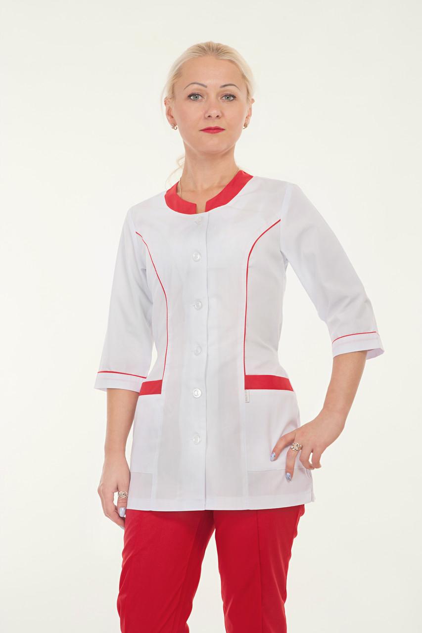 Медицинский женский костюм комбинированый белый с красным