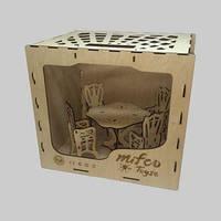 Набор классической деревянной мебели для кукол в деревянной коробке (стол и стулья)