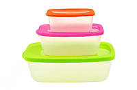Набор пластиковых контейнеров для хранения пищевых продуктов 3 шт