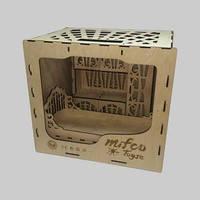 Набор классической деревянной мебели для кукол (шкаф и кровать)