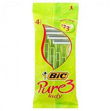 Станок для гоління BIC, Pure 3, Lady, одноразовий, 4 шт