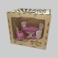 Набор яркой и красивой деревянной мебели для кукол (стол и стулья)