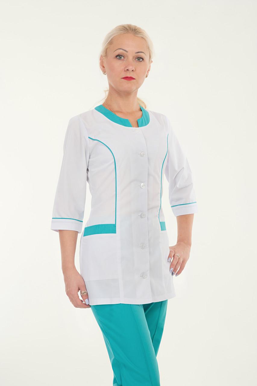 Медицинский женский костюм комбинированый белый с бирюзой