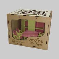 Набор яркой окрашенной деревянной мебели для пупсов (шкаф, стол и стулья)