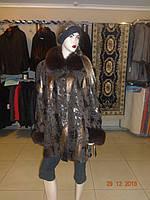 Куртка коричневая с воротником из песца