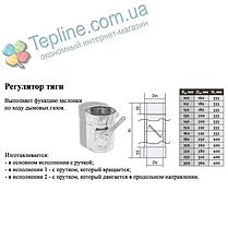 Регулятор тяги димаря сендвіч d 110 мм; 0.8 мм; AISI 304; неіржавіюча сталь/неіржавіюча сталь - «Версія-Люкс», фото 3
