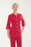 Медицинский женский костюм однотонный красный