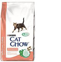 Cat Chow Sensitive Корм для кошек с чувствительным пищеварением 1,5КГ