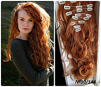 Волосы трессы на заколках ТЕРМО 8 прядей длина  60см рыжий №30/144