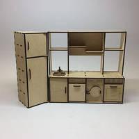 Кухня с холодильником для кукол. Размер /10х28х26 см./