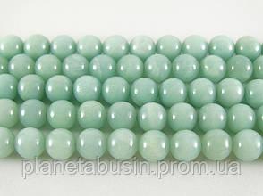 8 мм Голубой Амазонит, CN225, Натуральный камень, Форма: Шар, Отверстие: 1мм, кол-во: 47-48 шт/нить, фото 2