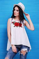 Белая женская блуза Flower Fashion UP 42-48 размеры