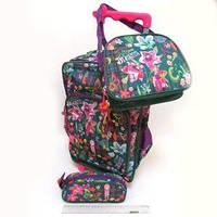 Набор рюкзак  на колесах + пенал +сумка бабочки цветы