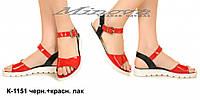 Босоножки женские №К-1151-черн.+красн.-лак