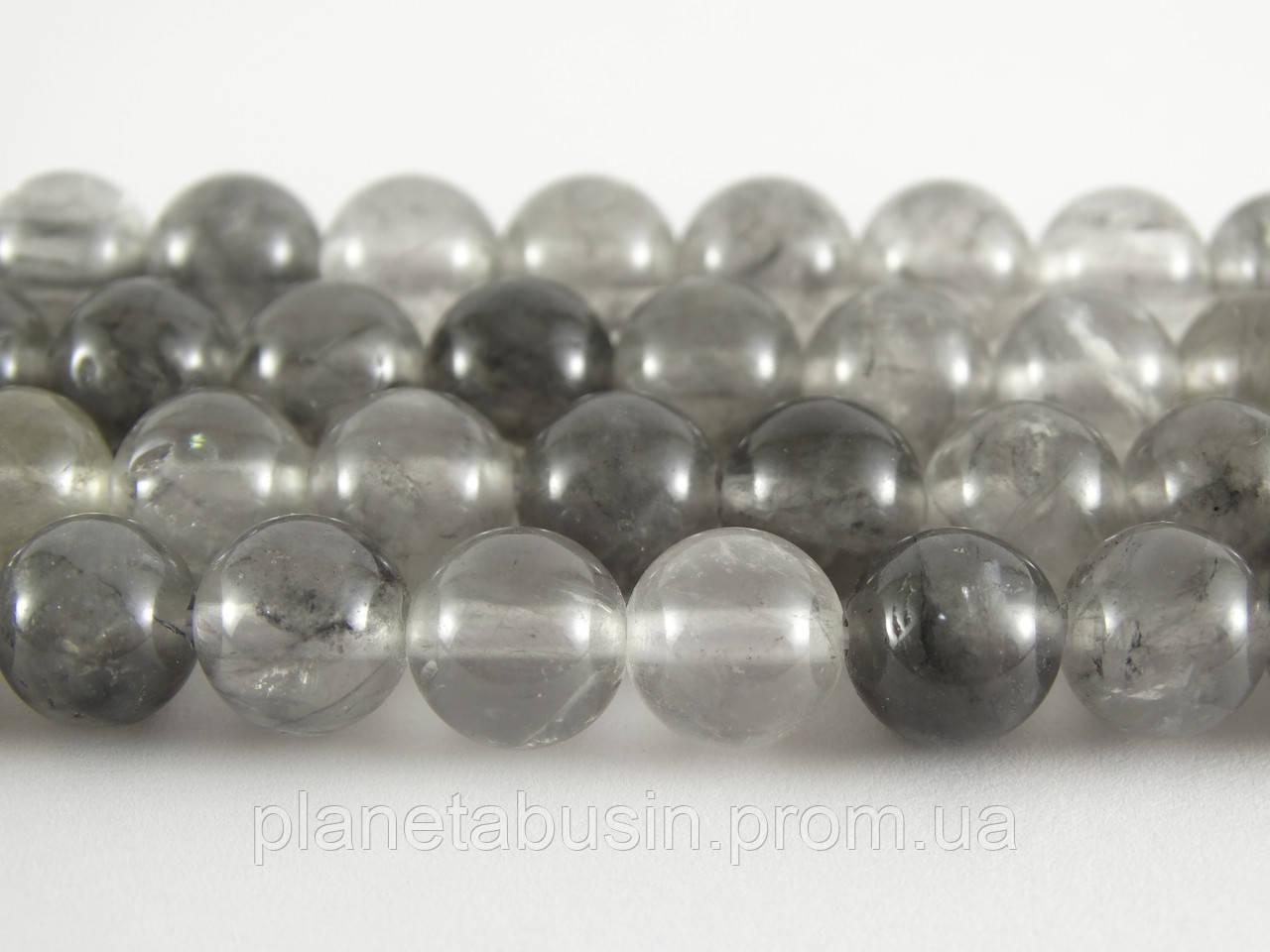 8 мм Серебряный Кварц, CN227, Натуральный камень, Форма: Шар, Отверстие: 1мм, кол-во: 47-48 шт/нить