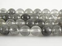 Натуральный Серебряный Кварц, Натуральный камень, На нитях, бусины 8 мм, Шар, кол-во: 47-48 шт/нить