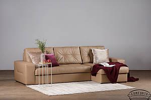Кожаный угловой диван Калифорния с отаманкой