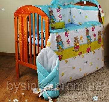Детское постельное белье в кроватку из 7 эл. (без балдахина) -Мишки садовники