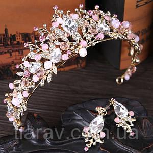 Корона диадема и серьги НОИР тиара с розовыми камнями бижутерия