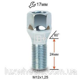 Болт колесный 072093 L M12X1,25X23,5 Цинк Конус с выступом, облегченный, ключ 17 мм