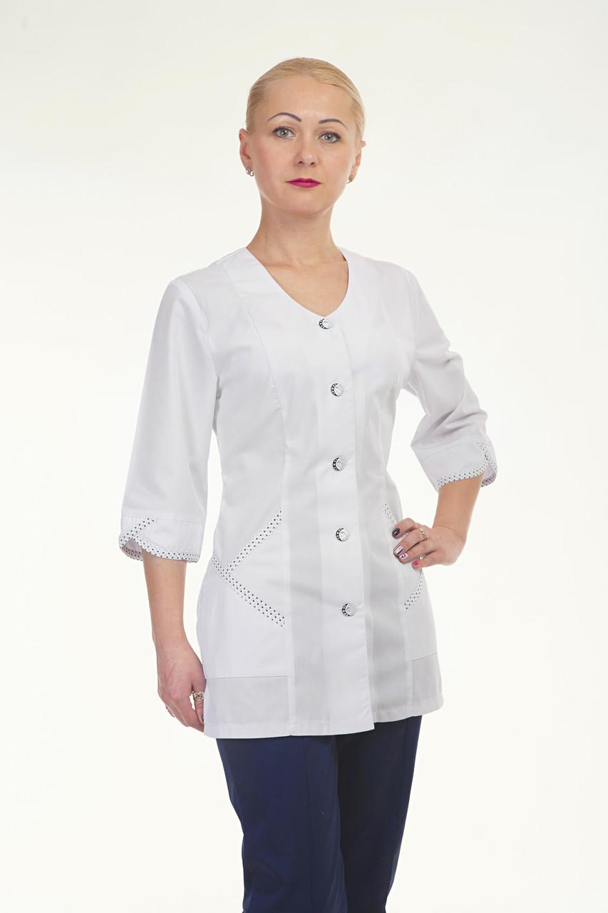 Медицинский женский костюм комбинированый белый с темно синими штанами