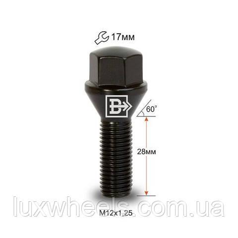 Болт колесный 172110 BA M12X1,25X28 Черный Хром Конус с выступом ключ 17 мм