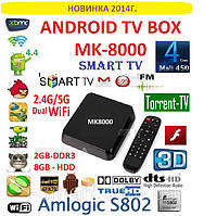 MK-8000 Android tv box 4ядра 2гб DDR3 LAN USB AV-out пульт +2.4/5 HZ WIFI +НАСТРОЙКИ I-SMART