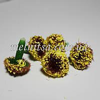 Серединка для цветка, бархатная, 12 мм, цвет желто-коричневый