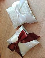 """Свадебная подушечка для колец """"Гармония"""", цвет айвори, и айвори с коричневым бантом, распродажа"""