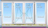 Балконная рама ПВХ REHAU Euro 70 3100*1530 двухкамерный стеклопакет