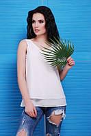Летняя женская белая блуза Maya Fashion UP 42-48 размеры