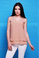 Летняя женская бежевая блуза Maya Fashion UP 42-48 размеры