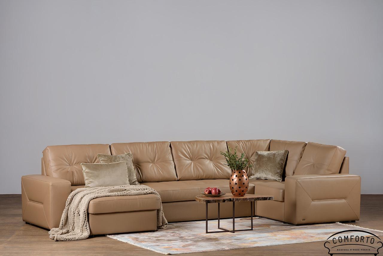 Современный угловой диван Калифорния в коже