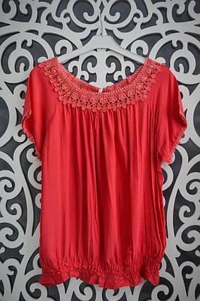 """Изумительные женские блузки на резиночке """"Красный"""" 52, 54, 56, 58, 60 размеры батал, фото 2"""