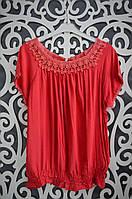 """Изумительные женские блузки на резиночке """"Красный"""" 52, 54, 56, 58, 60 размеры батал"""