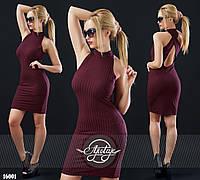 Силуэтное платье с открытой спинкой бордовое