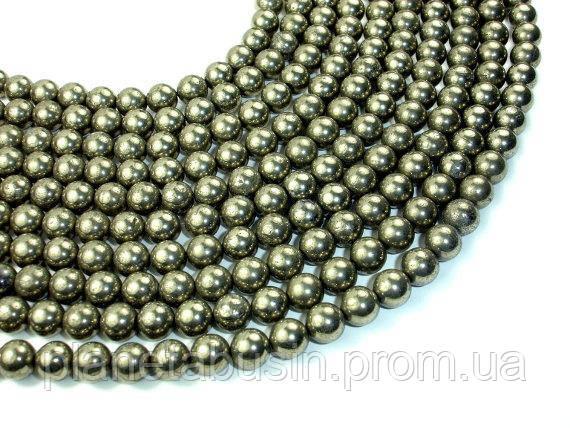 8 мм Пирит, CN230, Натуральный камень, Форма: Шар, Отверстие: 1мм, кол-во: 47-48 шт/нить